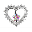 Jeweled flower and heart reversed belly ring