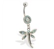Pave jeweled belly ring with dangling jeweled dragonfly