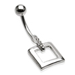 Navel ring with dangling square