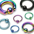 Titanium anodized captive bead ring with 5/16