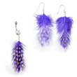Purple Polka dot Feather Belly Ring and Earring Set