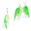 Green and Yellow  feather Belly Ring and Earring Set