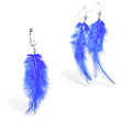 Blue Feather Belly Ring and Earring Set