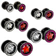 Pair Of Titanium Anodized Surgical Steel Jeweled Screw Fit Tunnels with CZ Star