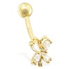 14K Gold Jeweled Butterfly Belly Ring