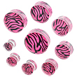 Pair Of Pink Tiger Print Acrylic Saddle Plugs