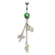 Navel ring with tropical parrotS and palm tree dangles