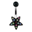 Black star navel ring with multi-colored gems