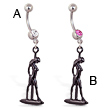 Navel ring with dangling dancer silhouette