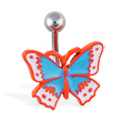 Orange and blue acrylic butterfly navel ring