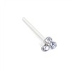 Silver nose stud with small clear jeweled clover and long tail for custom bend, 20 ga