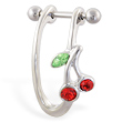 Straight helix barbell with dangling cherry cuff , 16 ga