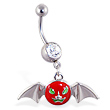 Navel ring with dangling scary face bat