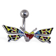 Colorful butterfly with heart belly ring