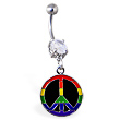 Navel ring with dangling rainbow peace sign