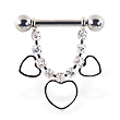 Nipple ring with dangling jeweled chain and hollow hearts, 12 ga or 14 ga