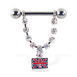Nipple ring with dangling jeweled chain with british flag, 12 ga or 14 ga