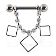 Nipple ring with dangling jeweled chain and hollow squares, 12 ga or 14 ga