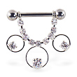 Nipple ring with dangling jeweled chain and circles and gems, 12 ga or 14 ga