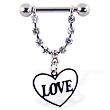 Nipple ring with dangling heart on chain with