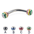 Curved barbell with epoxy striped balls, 12 ga