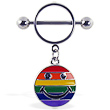 Nipple ring with dangling rainbow smiley face
