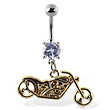 Navel ring with dangling yellow motorcycle