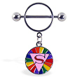 Nipple ring with dangling rainbow circle with