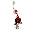 Navel ring with dangling red rose with gems