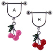 Stirrup nipple ring with dangling cherries