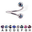 multi gem ball spiral barbell, 16 ga