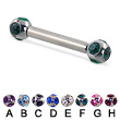 multi gem ball straight barbell, 12 ga