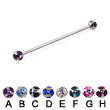 multi gem ball long barbell (industrial barbell), 14 ga