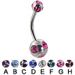 multi gem Belly Button Ring, 14 Ga