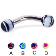 Eye ball curved barbell, 10 ga