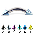 Colored cone curved barbell, 10 ga