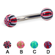 Curved barbell with acrylic checkered balls, 10 ga