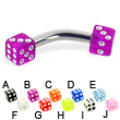 Acrylic dice curved barbell, 10 ga