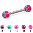 Web ball titanium straight barbell, 12 ga
