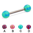 Titanium straight barbell with acrylic checkered balls, 14 ga