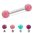 Straight barbell with acrylic checkered balls, 12 ga