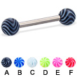 Titanium straight barbell with tornado balls, 12 ga