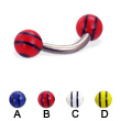 Titanium curved barbell with double striped balls, 12 ga
