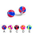 Curved barbell with balloon balls, 14 ga