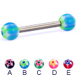Titanium straight barbell with acrylic star balls, 12 ga
