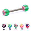 Titanium straight barbell with acrylic star balls, 14 ga
