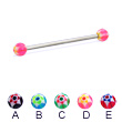 Long barbell (industrial barbell) with acrylic star balls, 12 ga
