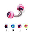 Eye ball titanium curved barbell, 12 ga