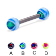 Eye ball titanium straight barbell, 12 ga