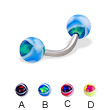 Eye ball curved barbell, 14 ga